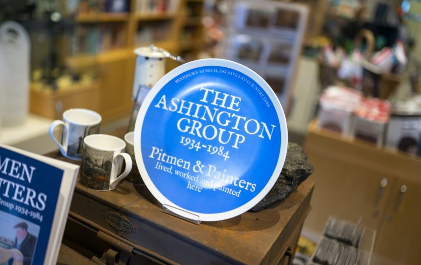 Museums Northumberland, Woodhorn Museum gift shop focus on Ashington Group plate