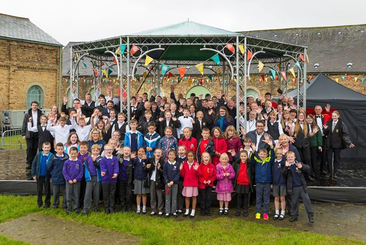 Picture of group of people on the bandstand at Woodhorn Musuem
