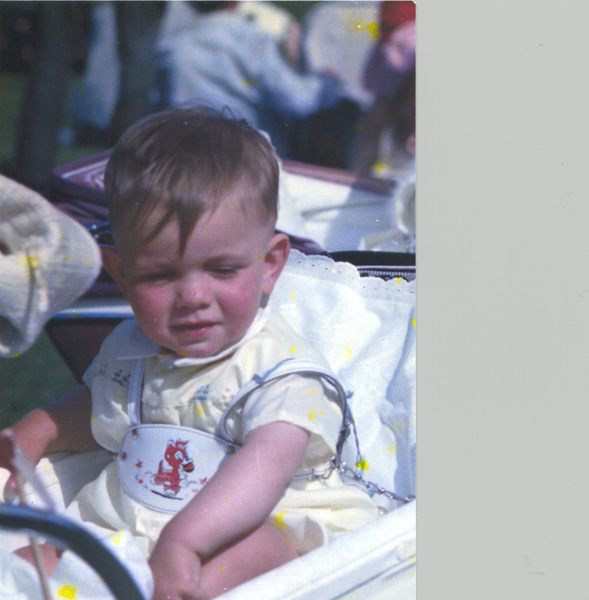 Colour photograph of an infant sitting up in a pram on picnic day.
