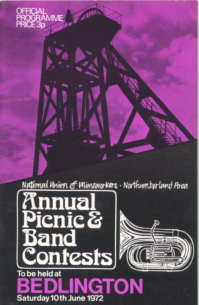 Front page of a Northumberland Miner's Picnic programme. 'Official / Programme / Price / 3p / National Union of Mineworkers Northumberland Area / Annual/ Picnic & / Band / Contests/ to be held at / Bedlington / Saturday 10th June 1972. Lead image shows silhouette of unknown headgear against a purple background.