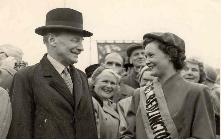 Black and white photograph of Miss Bedlingtonshire coal queen and Clement Attlee.