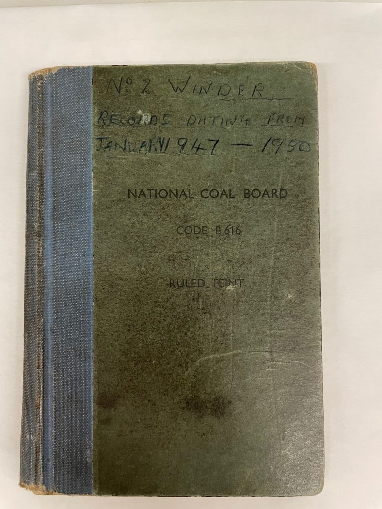 Front cover of Woodhorn Colliery Winderman's diary in a National Coal Board issued notebook.