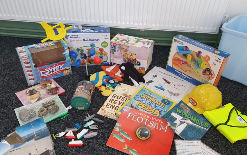 An image showing the contents of the Engineering at Sea loan box
