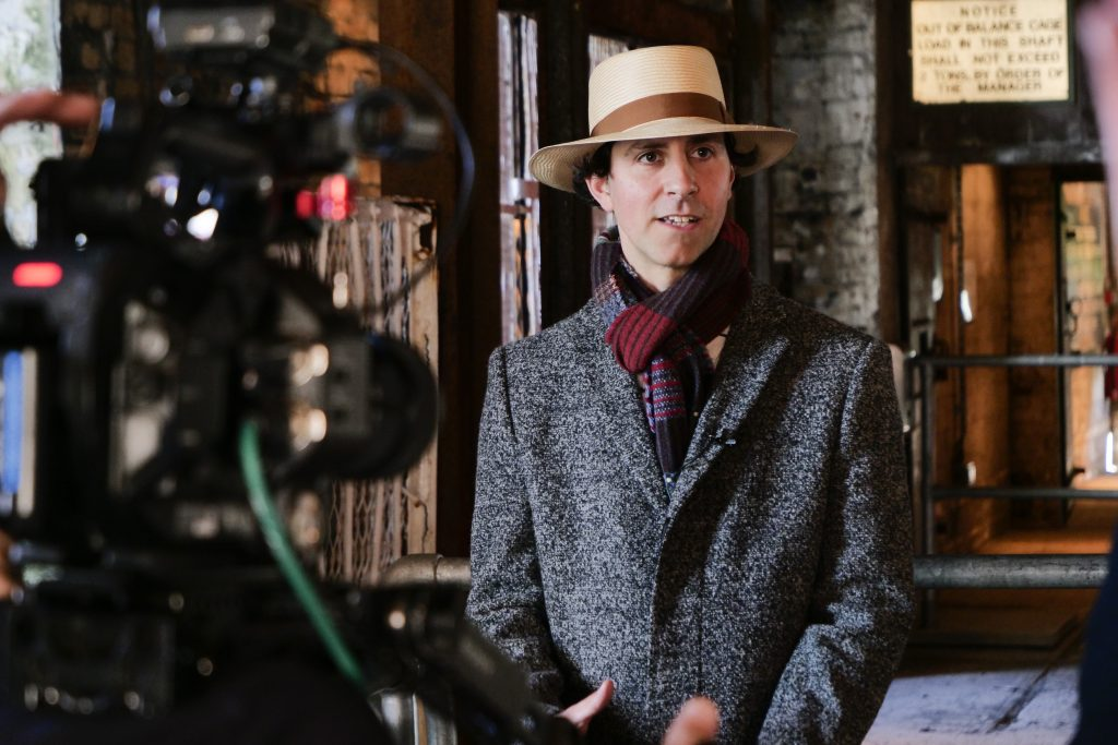 Paul Smith of Maximo Park filming at Woodhorn Colliery Museum for his virtual appearance at the 2021 Ashington Miners Picnic. 24/5 2021. This photo is licensed to Woodhorn Colliery Museum for their promotional purposes and press PR only. Any generic use separate from the promotion of this event by any third party is prohibited without reference back to the copyright holder, Photo © Mark Pinder +44 (0)7768 211174 pinder.photo@gmail.com www.markpinder.net